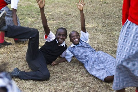 Kids playing and posing