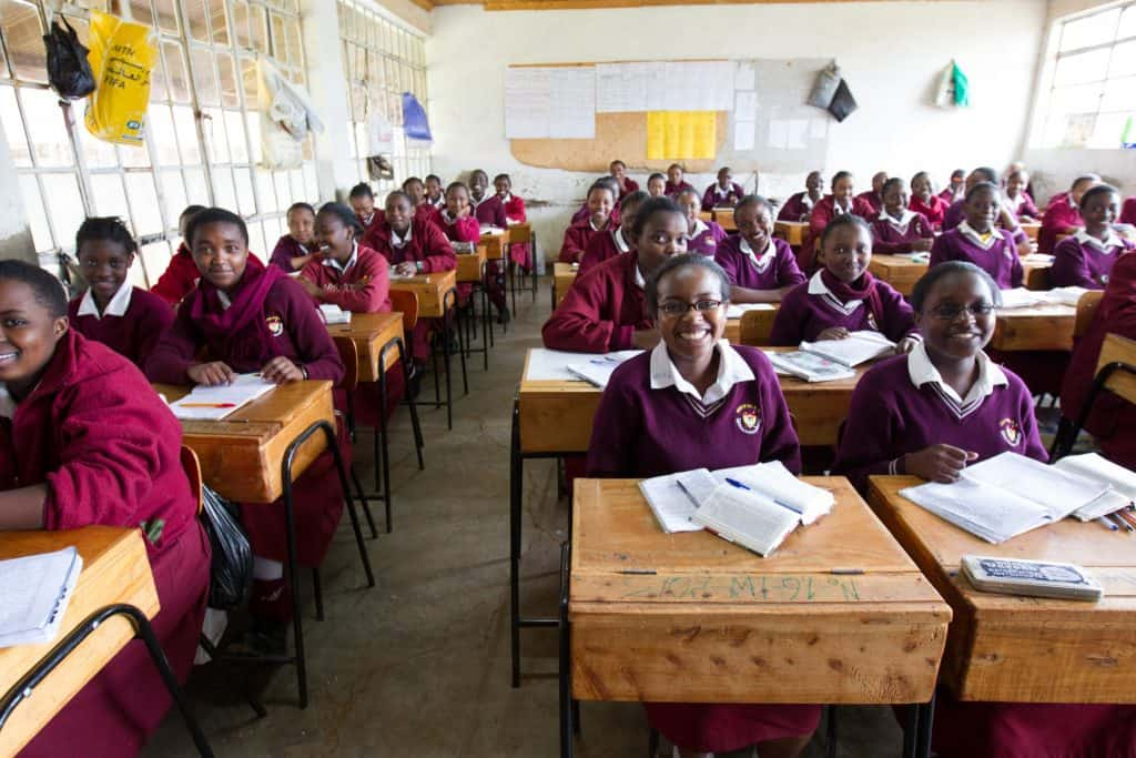 Girls in class at Mirithu