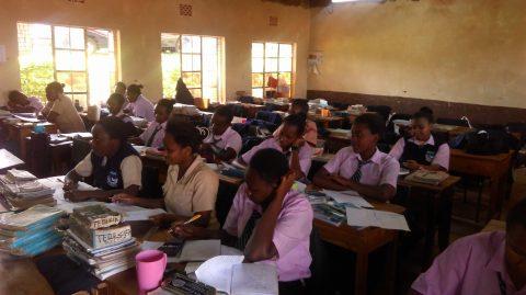 Girls in class at Kibiru School