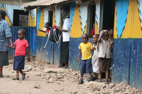 Ngando Preparatory students outside of class