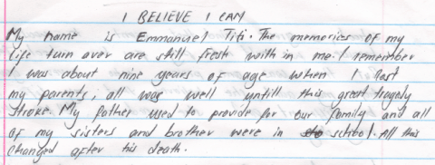 Emmanuel Titi's Essay I Believe I Can